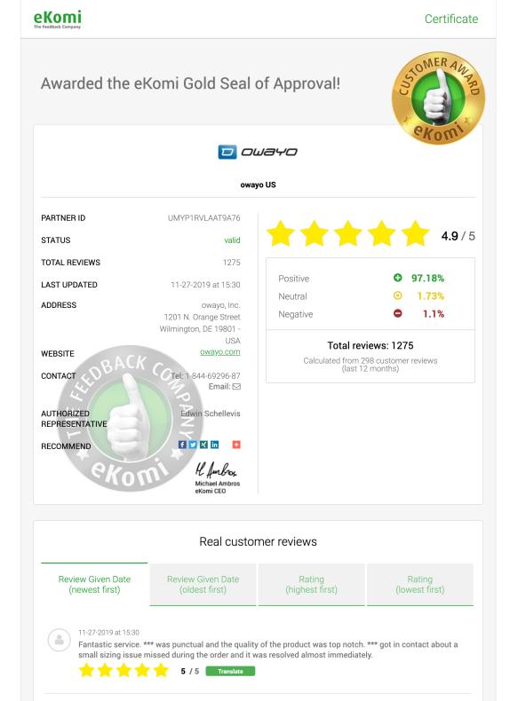 ekomi certificate page example